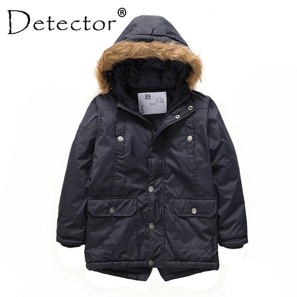 Detector Boys' Parka Jackets Hooded Warmly Children Cotton Coats Boy Winter Fur Coat Boys Kids Hiking Jacket Clothes Outerwear Y1893006