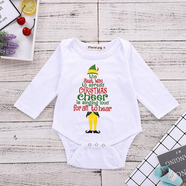 Baby Christmas Rompers Onesies Лучший способ распространения РОЖДЕСТВЕНСКИЙ Cheer Санта-шляпа с набивным рисунком новорожденного мальчика девушка дизайнер одежды треугольник