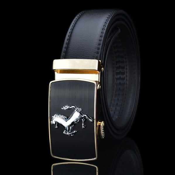 gold buckle and black belt