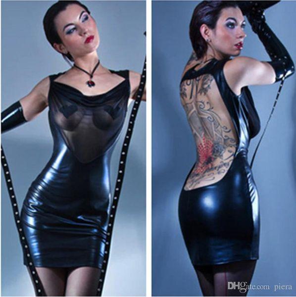 Women Sexy Black Backless See Throuth Chest Clubwear Bodycon Fetish Erotic Mesh Mini Dress Pole Dancing Club Dress