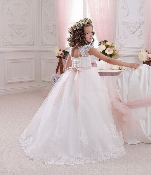 Wedding Lace First Communion Girl Dresses Cap Sleeve Long Kids Prom Dress Evening Gown Flower Girl Dresses for Wedding ytz236