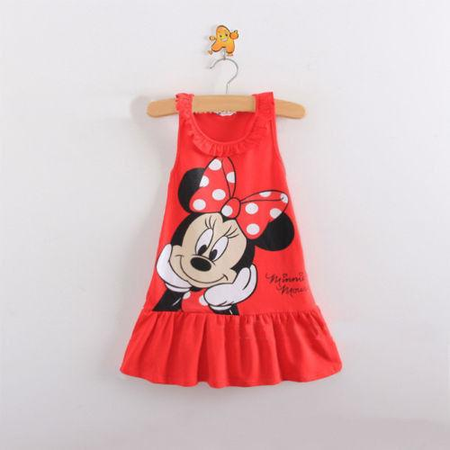 UNIKIDS Unkids New Kids girls clothes cute cartoon Dress, 2 colors of red and pink nice Clothes, lovely baby girls dress