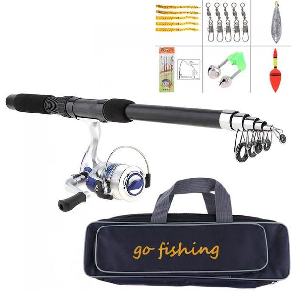 2.1m Fishing Rod Reel Line Combo Full Kits Spinning Reel Pole Set with Fishing Bag Soft Lures Float Hook Swivel Etc