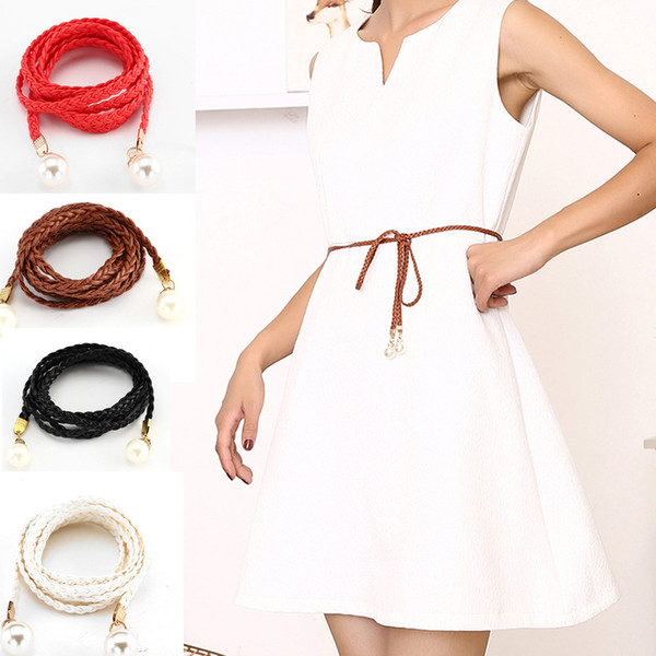 Women Belt Leather Casual Thin Belt Style Candy Colors Rope Braid Female For Dress cinturon mujer A9