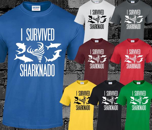 Я выжил Sharknado Мужская футболка Фильм Фильм Культ Научно-фантастический Смешной принт Слоган Круто
