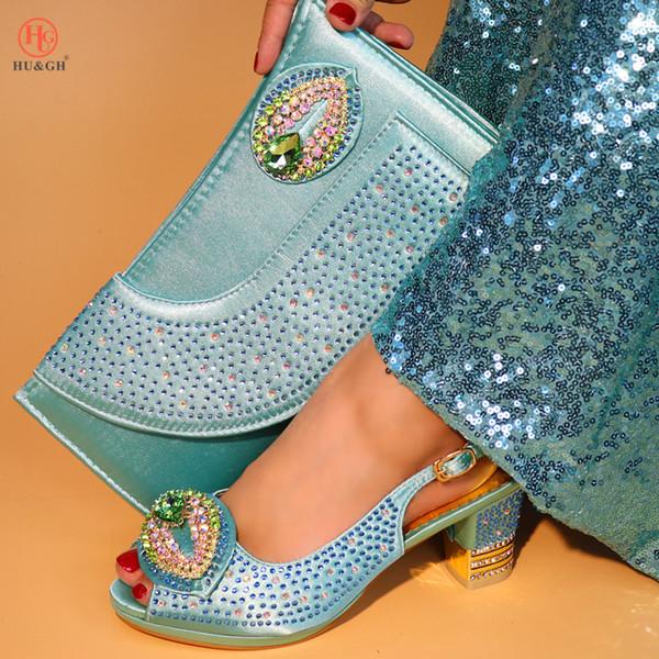 Teal Cor Atacado Sapatos Da Mulher Africano E Saco Set Elegante Festa De Casamento De Salto Alto Sandálias De Strass Saco De Harmonização Africano