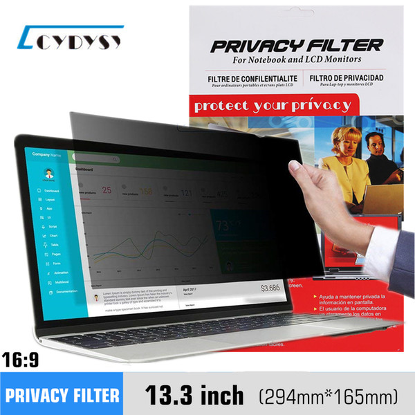 top popular 13.3 inch Anti-glare Privacy Filter Privacy Screen Protector for (16:9) Widescreen Laptop LCD Monitor   Notebook 294*165mm 2019