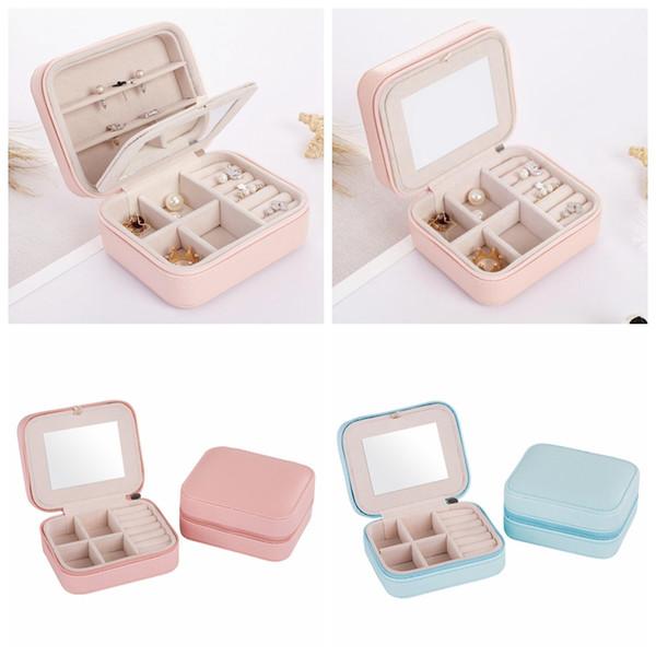 Boîte de rangement carrée de bijoux facile à porter organisateur anneaux boucle d'oreille collier et bracelet boîtes en cuir avec miroir sac organisateur GGA1353
