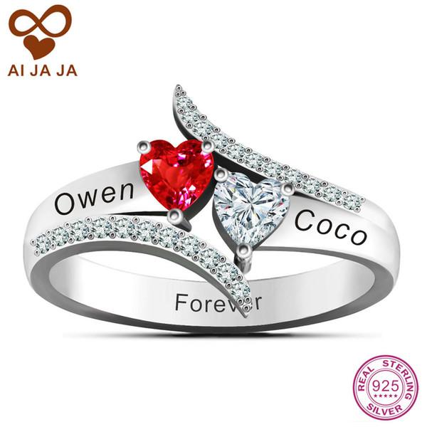 925 Sterling Silver Love'S Promise Anéis Casais Personalizados Nome Anel Gravura Livre DIY Duas Pedras Coração Jóias Para As Mulheres S18101608