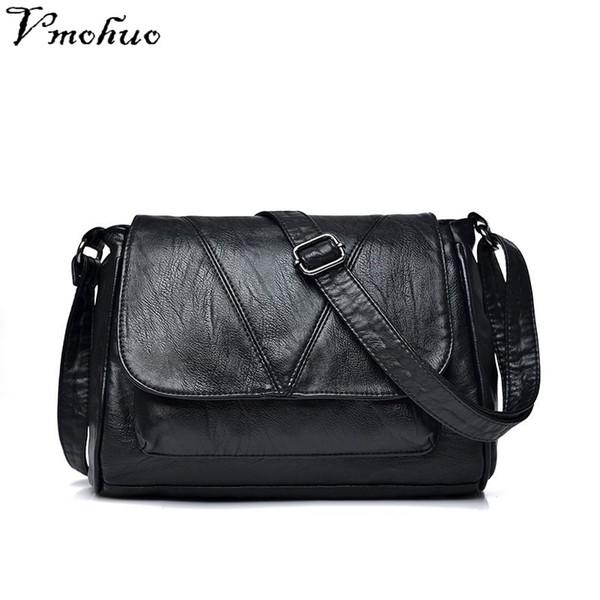 VMOHUO Women Messenger Bags Small Leather Shoulder Bag Female Sac a Main Vintage Flap Ladies Bag Black Crossbody Bags For Women