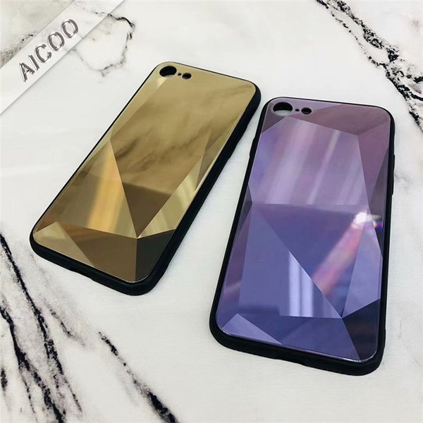 Luxury Laser 3D Diamond Pattern Tempered Glass Cover TPU Bumper Back Phone Case For iPhone XS MAX XR X 8 7 6 6S plus Opp Bag