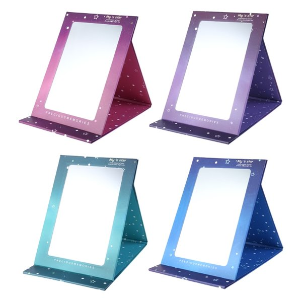 1pc Desktop portable creative star fold cosmetic mirror color paper cute mirror