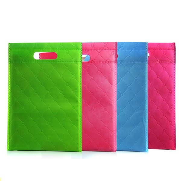 30pcs 35x45cm New Fashion Nonwoven Bag / 5Colors Grid goffratura borse non tessuto, tessuto non tessuto SACO, non tessuto borse in tessuto