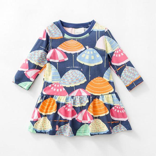 2018brand Long Sleeve Kleider für Mädchen 100% Baumwolle Eine Linie Tier gedruckt Kleinkind Kleidung hochwertige Kinder Kleid Großhandel gemischte Größen 2-7Y