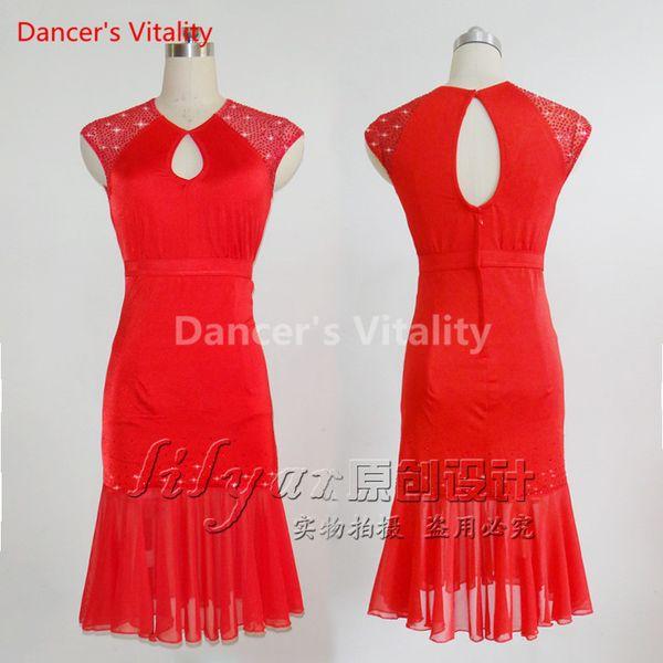 Latin Dance Dress Performance Competition Diamond Sleeveless Pleated Costume Suit for Lady Women Rumba Samba Tango Cha Cha Salsa Dancing