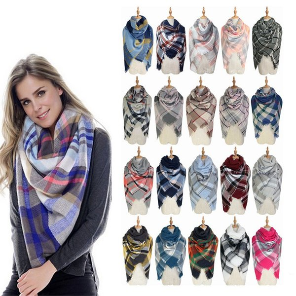best selling New women's Plaid Scarf Mesh Fringe Wrap Super Large Plaid Shawl Imitation Cashmere Scarf Winter Scarf Plaid Blanket Fashion T6C095