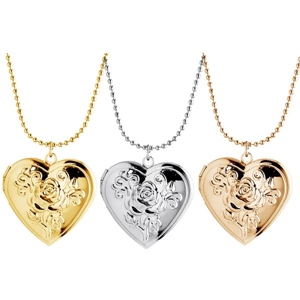 top popular Gold Silver Glossy Flower Heart Carved Pocket Watches Necklace Photo Frame Open And Close Pendant Love Necklace For Women Retro Lockets 2021
