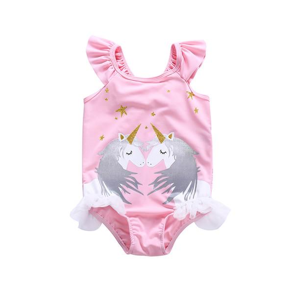 Baby Girl Swimwear Unicorn Swiming Suits one piece princess bathing suit Bikini Beachwear Bodysuit with ruffles LC810-1
