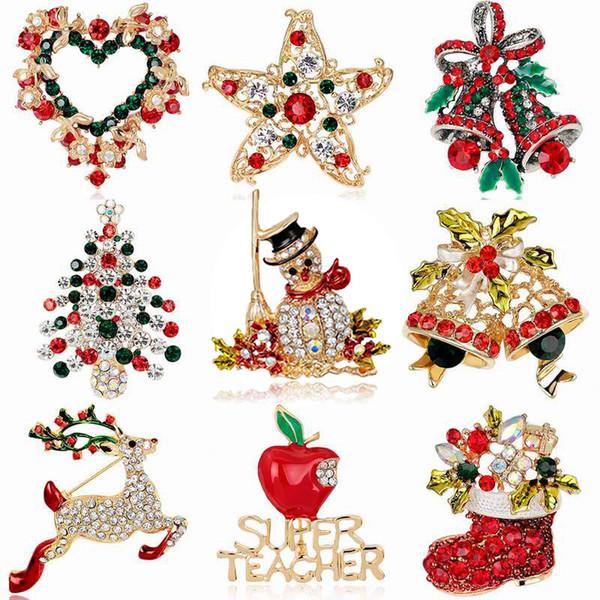 24 стиль снеговик сапоги колокол оптом мода рождественские броши кристалл горного хрусталя рождественская елка булавка брошь рождественские подарки