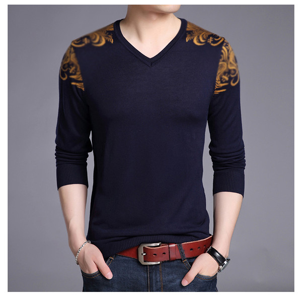 2018 New Autumn Winter Brand Clothing Sweater Men Fashion V Neck Sweate Slim Fit Winter Pullover Men Graphic Knitted Sweater Men