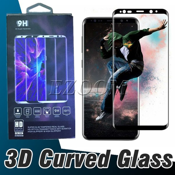 3D Curve Edge HD Clear Tempered Glass Screen Protector Film For Samsung Galaxy 9 S8 Plus Note 9 8 S7 S6 Edge With Package