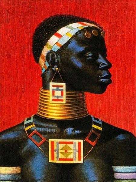 Multi Custom Sizes /Frame Available Vladimir Tretchikoff Handpainted / HD Print Ndebele Woman FINE Art Oil Painting On Canvas P143