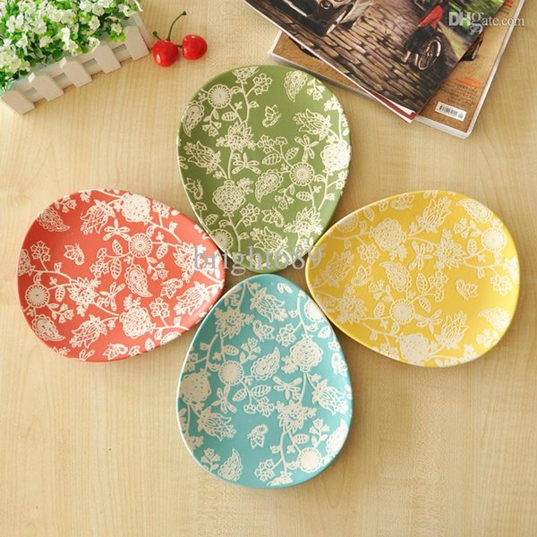 Plato de cerámica plato plato de cerámica al por mayor-al por mayor placa de sushi forma ovalada 4 tortas de fruta