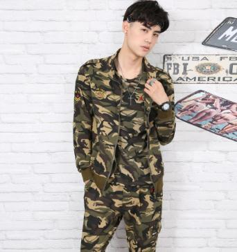 New outdoor sports suit, men's camouflage, cotton jacket, self-cultivation elastic pants, two sets, spring and autumn outdoor recreation