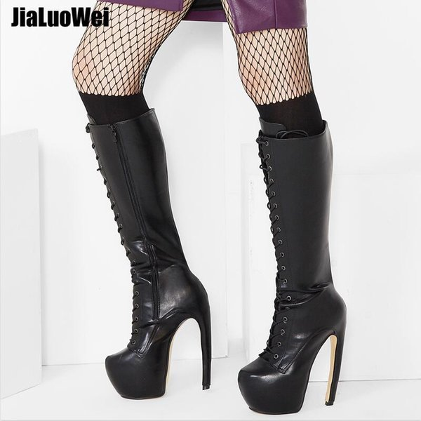 """European 18cm New Curve Heels Strange Style Women Knee-High Boots 7"""" Super High Heeled Hide Platform Sexy Shoes Lace-up PU Leather long Boot"""