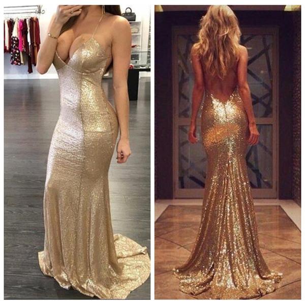 2018 New Sexy Spaghetti Backless Full Sequins Slim Mermaid Prom Dresses Long Bridesmaid Dresses Custom Criss Cross Back Formal Evening Gowns