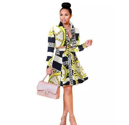 Oficina de las señoras traje de falda de alta calidad de manga larga flor cadena impresa blusa Top y una línea de falda traje de las mujeres Eglegant ropa conjunto