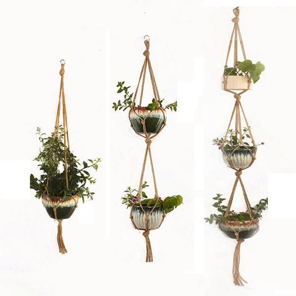 DHL Free Indoor Outdoor Plant Hanger Hanging Planter Pot Holder Flower Basket Pot Hanger Rope for Home Balcony Decoration 1/2/3 tiers