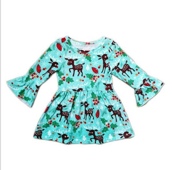 Christmas Dress Cute Toddler Baby Girl Blue Deer Skirt Printe Dress Long-Sleeves Skirt Outfits For 1-7T Kids