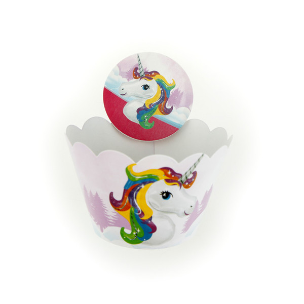 1 Set Unicorn Party Cupcake Topper Happy Birthday Party Baby Shower Children Decor Kids Cake Decor Festival Supplies