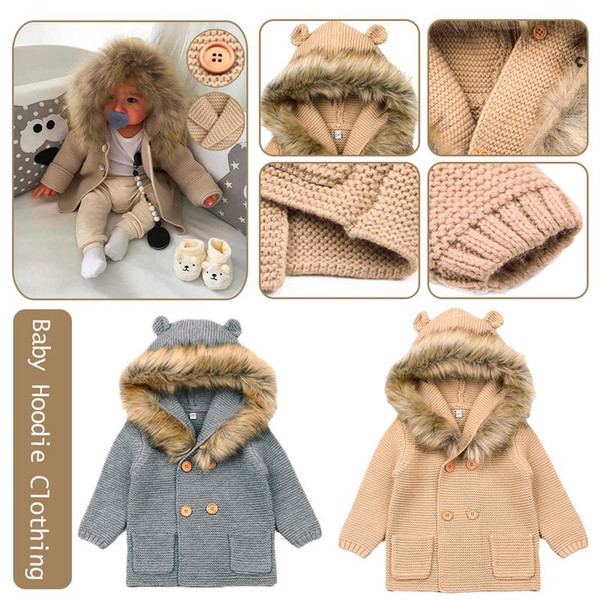 best selling Winter Fashionable Sweaters For Baby Cardigans Autumn Hooded Newborn Knitted Jackets Cartoon Bear Children Long Sleeve Clothing