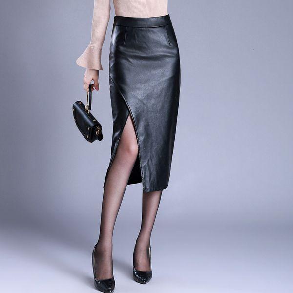 2018 High Waist Bodycon Winter Skirt Women Sexy Split PU Leather Skirts Womens Slim Long Pencil Skirt Plus Size 4XL Office Skirt C18110801