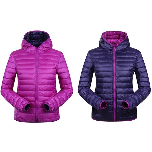 Großhandel 2019 Winter Frauen Daunenjacke Mit Kapuze Ultra Light Daunenjacken Zwei Seite Wear Frauen Jacke 90% Weiße Ente Daunen Wintermantel UHLULC
