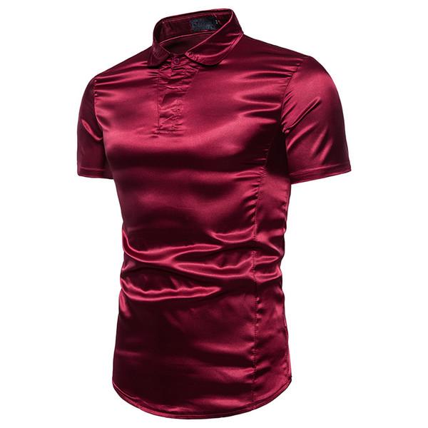 Mens Bright Short Sleeve silk Shirt | 2018 Brand New Summer Male Casual  Shirt Men Breathable Hip Hop Plus 3XL