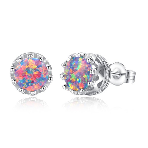 Korean style women crown stud earring real photos colorful opal earings fashion luxury diamond earrings snap jewelry