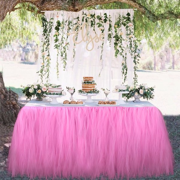 Ourwarm Wedding Table Skirt Table Decoration Accessories Tulle Tutu Table Skirt Baby Shower Birthday Party Decorations Kids