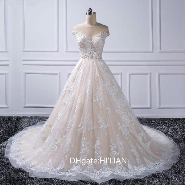 Luxury Lace Ball Gown Wedding Dress Off Shoulder Princess Arabic Muslim Arab Bride Bridal Dress Gown Formal Wedding Occasion