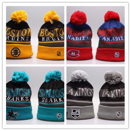 Winter Beanie Hats for Men Knitted NHL Wool Hat Gorro Bonnet with San Jose Sharks Beanie Boston Bruins Pittsburgh Penguins Winter Warm Cap