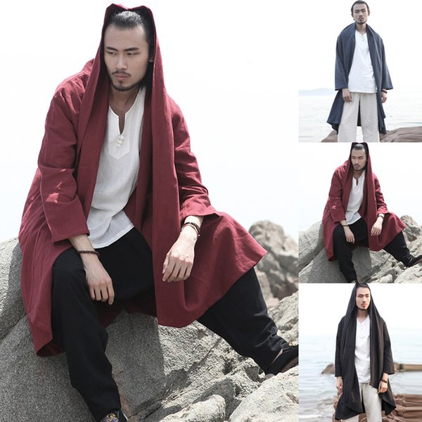 Chinese Style Men's Trench Long Cardigan Long Sleeve Lapel Hooded Vintage Cloak Cape Men Retro Autumn Solid Loose Outerwear Coat