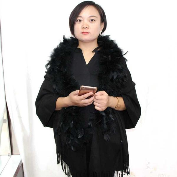 Women's 180cm solid tassel cashmere shawl scarf evening party detachable ostrich feather fur collar scarves cape autumn winter