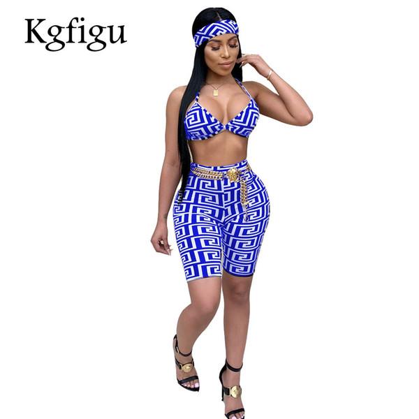 KGFIGU femmes deux pièces tenues 2018 Top et pantalons de culture d'été ensembles Sexy sans manches imprimé vêtements femmes club correspondant ensembles