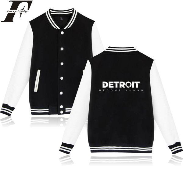 2018 Detroit Become Human Baseball Jackets Game Collage Style Long Sleeve Baseball Jackets Men/Women Plus Size