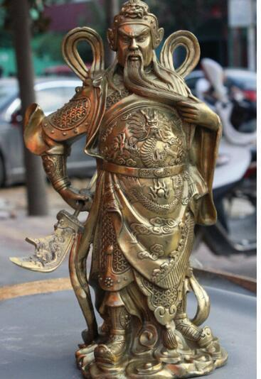 "13"" Chinese Famous Brass Dragon Warrior GuanGong GuanYu Hold Broadsword Statue"