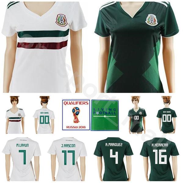 Women Mexico Jersey Men Soccer 19 PERALTA 18 GUARDADO 22 LOZANO 10 SANTOS Lady Football Shirt Kits Mexican 2018 World Cup 14 J. Hernandez
