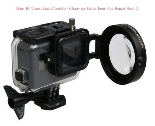 58MM 16-fache Vergrößerungs-Nahaufnahme-Makroobjektiv + Adapter für Gopro Hero5