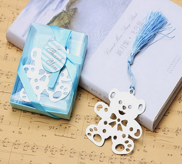 (10pcs/lot)FREE SHIPPING+Lovable Teddy Bear Design Bookmarks In Blue Gift Box Baby Boy Baptism Gift For Guest
